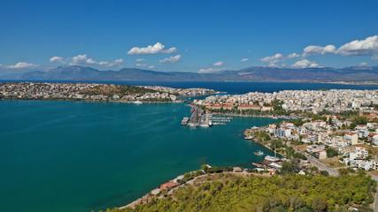 Aluminium Prints New Zealand Aerial photo of famous seaside town of Halkida with beautiful clouds and deep blue sky, Evia island, Greece