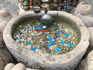 Baku, Azerbaijan Small stone fountain on the territory of the caravanserai in the historic district of Icheri Sheher (Old city) on Gyulla street