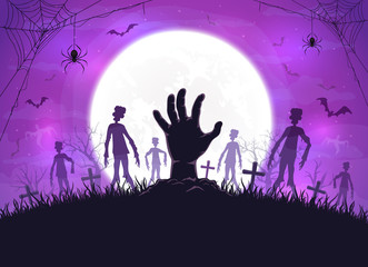 Purple Halloween Background with Zombies and Hand