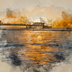 Poster Cappuccino Digital watercolor painting of Beautiful vibrant sunrise landscape image of Worthing pier in West Sussex during Winter