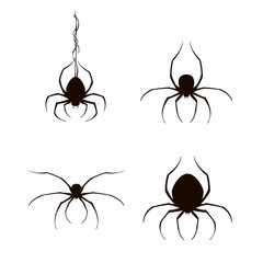 Set of Black Spiders for Halloween