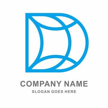 Geometric Square Letter D Business Company Vector Logo Design