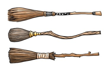 Set of three wizard brooms isolated on white background. Raster graphics.