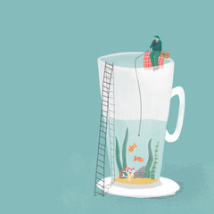 Illustration of fisherman fishing while sitting on cup