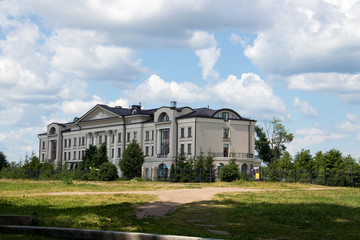 Uglich. Yaroslavl region. Modern buildings in the historical part of the city. Bank Of The Volga.