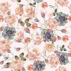 Fototapeta Beautiful floral vintage pattern with pastel pink and beige rose flowers obraz
