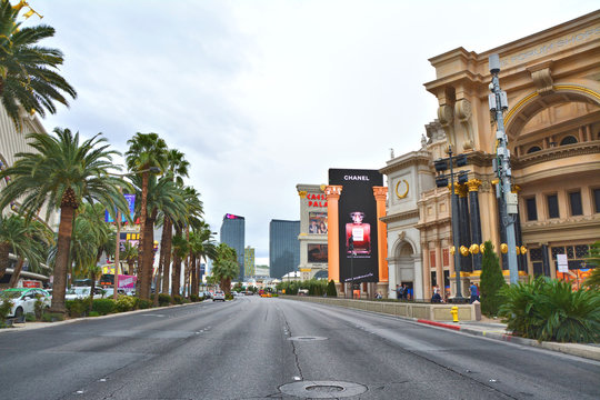 LAS VEGAS, USA - MARCH 21, 2018 : View on Las Vegas Boulevard - The Strip.