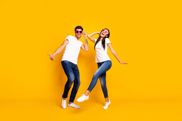 Full body photo of two people dancing at first season theme party wear cool specs and casual...