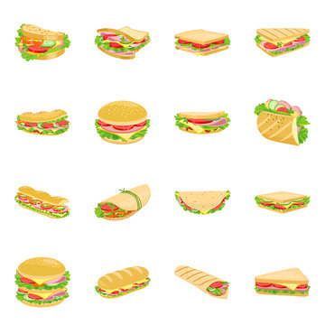 Vector illustration of sandwich and fastfood sign. Set of sandwich and lunch stock symbol for web.