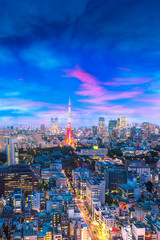 Keuken foto achterwand Tokio Cityscape of Tokyo, city aerial skyscraper view of office building and downtown and street of minato in tokyo with sunset / sun rise background. Japan, Asia