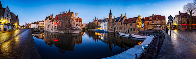 Photo sur Toile Bruges Sunset in the most tourist places of Bruges, Belgium