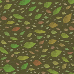 green decorative leaf design mid century 1950s type seamless pattern on a dark background