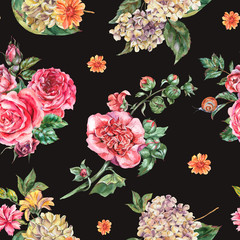 Watercolor Vintage Floral Seamless Pattern, Bouquet with Pink Roses, Hydrangea, Snail and Wild Flowers