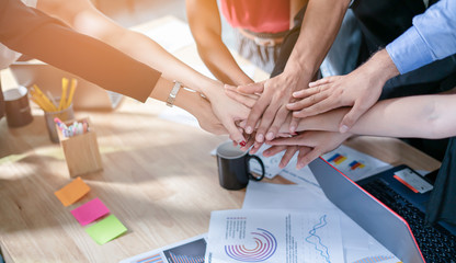 Teamwork,partnership and Social connection in business join hand together concept.Hand of diverse people connecting.Power of volunteer charity work, Stack of people hand.
