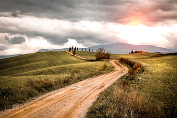Mood fall photo of Tuscany and free space for your decoration  Fototapete