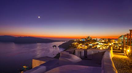 Printed kitchen splashbacks Eggplant Sunset and the new moon on Santorini Island, top view of Oia, Greece