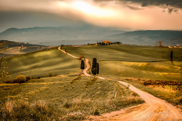 Mood fall photo of Tuscany and free space for your decoration