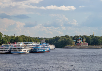 Uglich. Yaroslavl region. View of the Uglich Kremlin and the Volga river. The Church of St. Dimitry on the blood, Transfiguration Cathedral. Cruise ships berthed