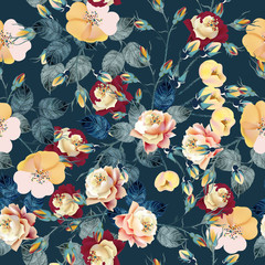 Elegant flower vector rose pattern in classic vintage style for design