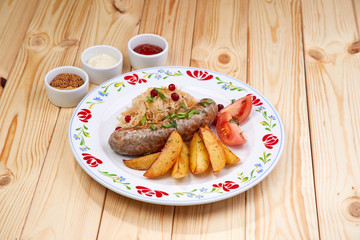 sausage with baked potatoes
