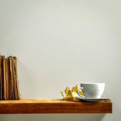 Fototapete - Coffee background of free space for your decoration and gray wall background