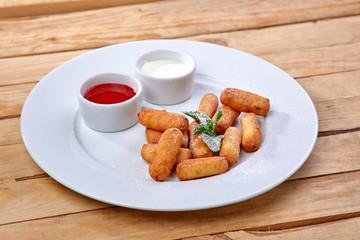 cream cheese sticks with sauce
