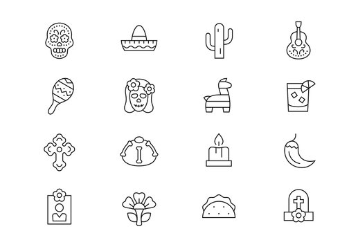 Day of the Dead thin line vector icons. Editable stroke