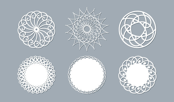 Lace doily lasercut paper Round pattern ornament Template mockup of a round white lace doily napkin lasercut frame Set Design element for lasercut elegant vintage invitation banner Vector lacy doily