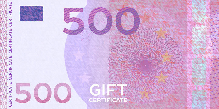 Voucher template banknote 500 with guilloche pattern watermarks and border. Yellow background for gift voucher, coupon, money design, currency,note, check, cheque, reward, certificate design