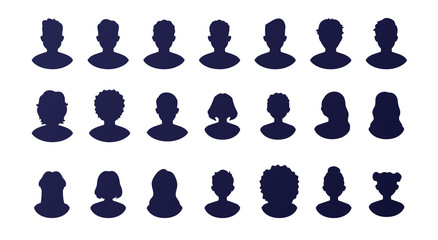 People silhouette avatars set isolated on a white background. Profile picture icons. Male and female faces. Cute cartoon modern simple design. Beautiful template. Flat style vector illustration.