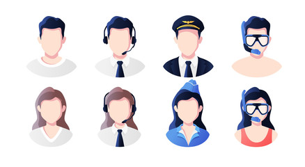 Profession, occupation people avatars set. Support, pilot, stewardess, vacationers. Profile picture icons. Male and female faces. Cute cartoon modern simple design. Flat style vector illustration. Wall mural
