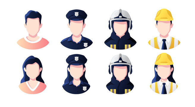 Profession, occupation people avatars set. Policeman, builder, fireman. Profile picture icons. Male and female faces. Cute cartoon modern simple design. Flat style vector illustration.