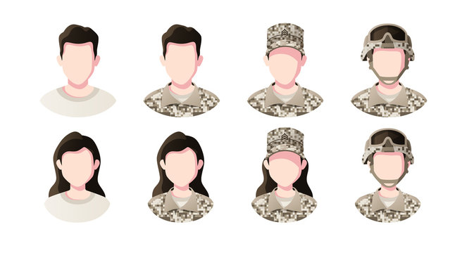 Profession, occupation people avatars set. Soldier. Profile picture icons. Male and female faces. Cute cartoon modern simple design. Flat style vector illustration.
