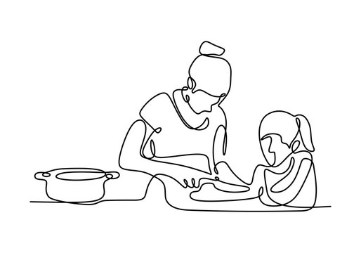 Continuous line drawing of mother and daughter cooking a food. Vector family time one hand drawn single sketch illustration.