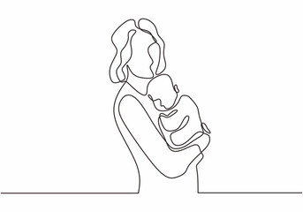 Happy Mom and baby continuous line drawing vector illustration simplicity lineart.