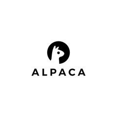 alpaca llama logo vector icon illustration negative space style