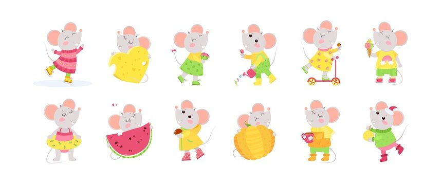 12 cute little mice cartoon characters.  Chinese zodiac sign.  New Year 2020. Big set of flat vector illustrations...