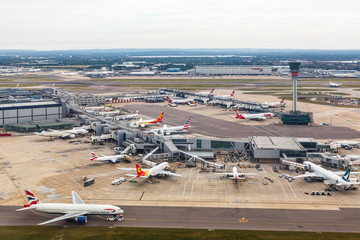 London Heathrow Airport LHR Terminal 3 aerial photo