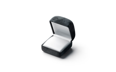 Blank black opened ring box mockup, side view
