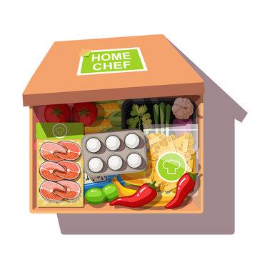 Various ingredients meal kit in open cardboard box