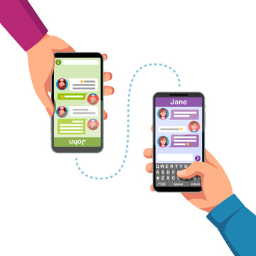 Two people hands holding phones, sending messages