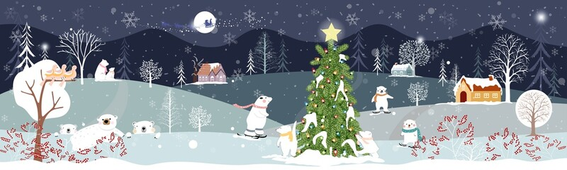Panoramic of winter landscape,Vector of horizontal banner of winter wonderland at countryside with polar bear having fun in the park, Happy new year and Merry Christmas background