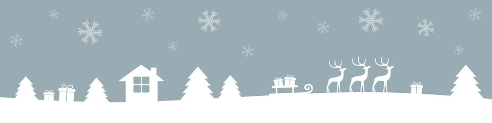 Foto auf AluDibond Dunkelgrau grey and white christmas winter border with reindeers gifts and firs vector illustration EPS10