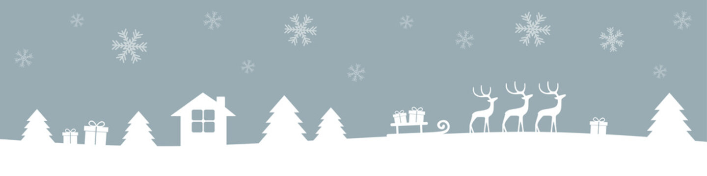 grey and white christmas winter border with reindeers gifts and firs vector illustration EPS10