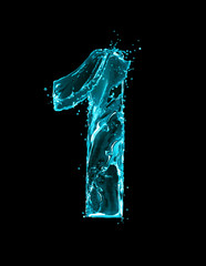 Fototapete - Number 1 made of turquoise splashes of water on black background