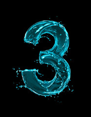Fototapete - Number 3 made of turquoise splashes of water on black background