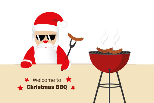 welcome to christmas BBQ santa claus grills sausages funny cartoon vector illustration EPS10