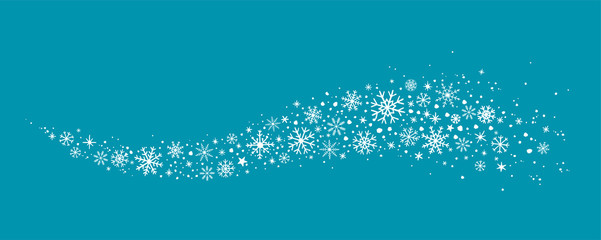 blue winter background with hand drawn snowflakes silhouette