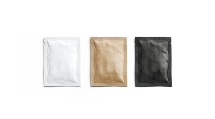 Blank black, white and craft paper sachet packet mockup, isolated