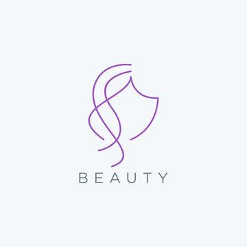 Abstract women face and hair beauty logo design icon vector template